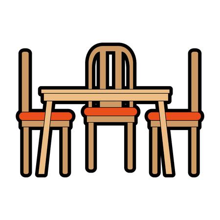 Speisetisch und Stühle vector Illustrationsdesign Standard-Bild - 87230032