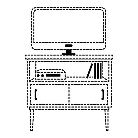 nachtkastje slaapkamer met tv plasma vector illustratie ontwerp Stock Illustratie