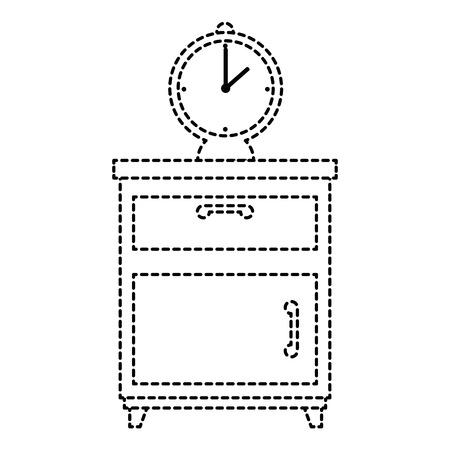 nachtkastje slaapkamer met wekker vector illustratie ontwerp