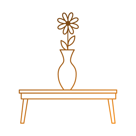 table with decorative vase isolated icon vector illustration design