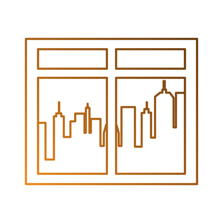 window with city background vector illustration design