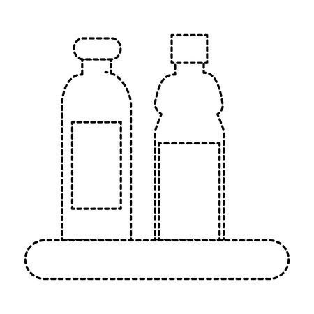 shelf with plastic bottles isolated icon vector illustration design Ilustração
