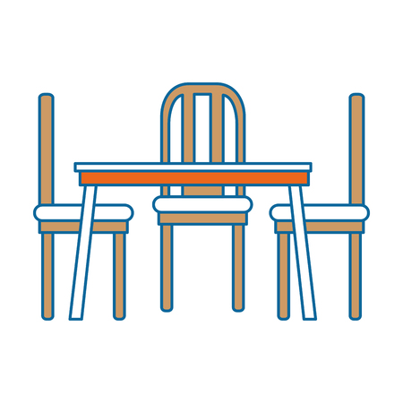 Dining Table And Chairs Vector Illustration Design