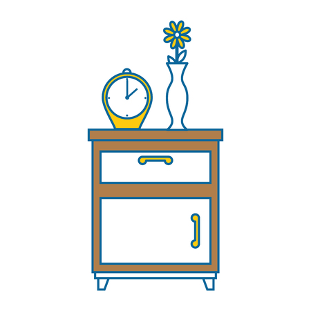 nightstand bedroom with alarm clock vector illustration design Illustration