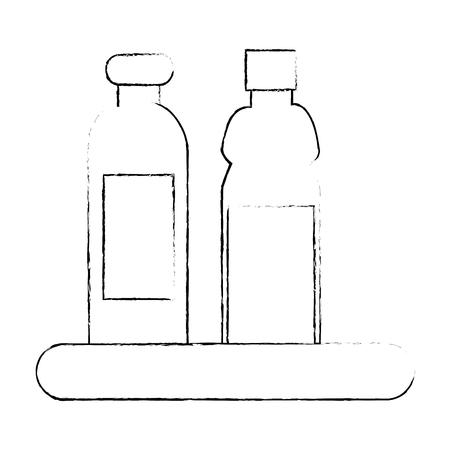shelf with plastic bottles isolated icon vector illustration design Illusztráció