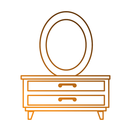 Nachttisch Schlafzimmer mit Spiegel Vektor Illustration design Standard-Bild - 87230164