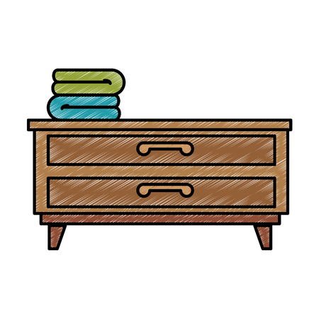 bedroom drawer with clothes vector illustration design Ilustrace
