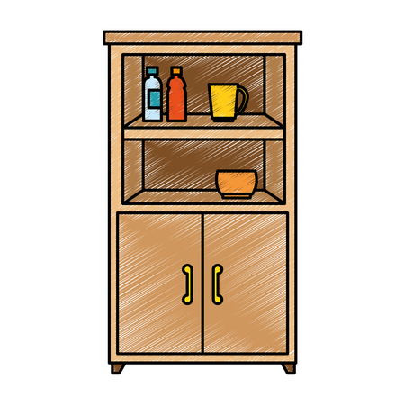キッチン キャビネット アイコン ベクトル イラスト デザインを分離しました。  イラスト・ベクター素材