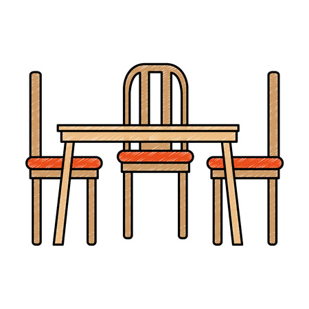 dining table and chairs vector illustration design Illustration