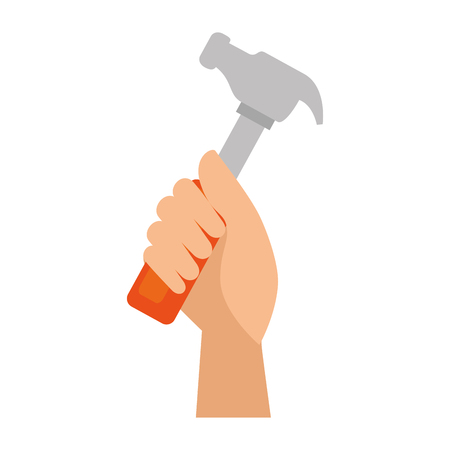 apalancamiento: hand worker with hammer tool isolated icon vector illustration design Vectores