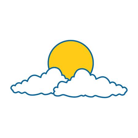 cloud sky with sun vector illustration design