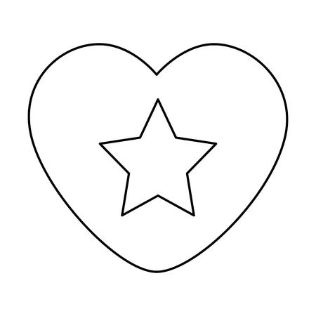 heart with star isolated icon vector illustration design Illusztráció