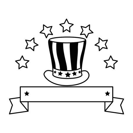 united states of america hat with stars emblem vector illustration design