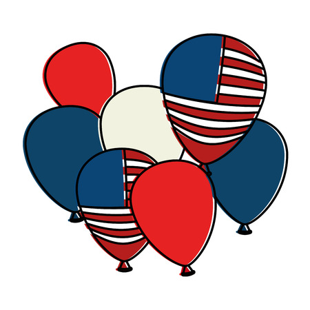 united states of america balloons celebration vector illustration design Illustration