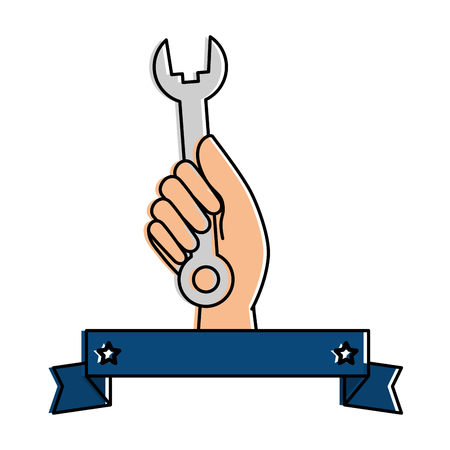 hand worker with wrench tool isolated icon vector illustration design