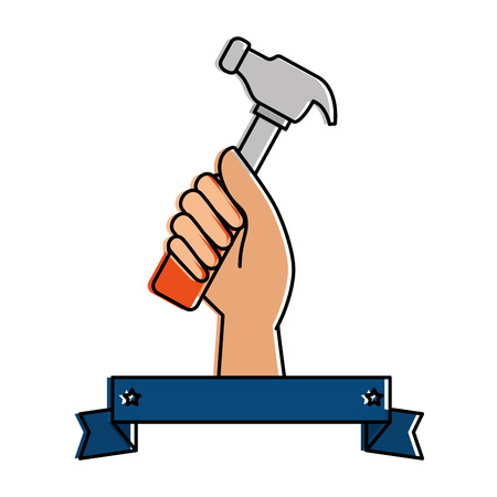 hand worker with hammer tool isolated icon vector illustration design Illustration