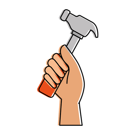 steel: hand worker with hammer tool isolated icon vector illustration design Illustration
