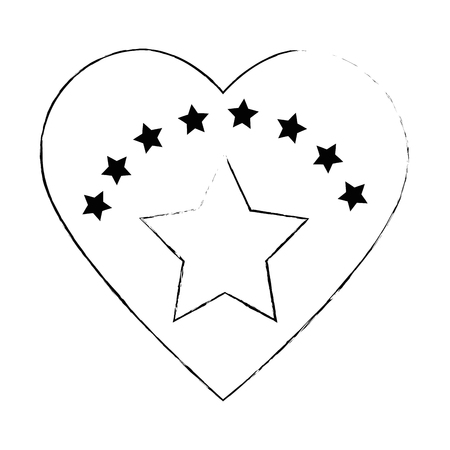 heart with star isolated icon vector illustration design 向量圖像