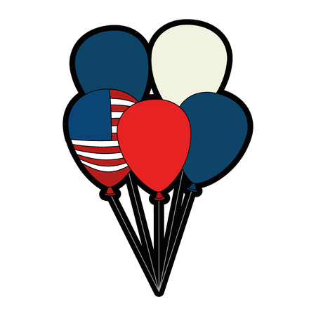 united states of america balloons celebration vector illustration design Illustration