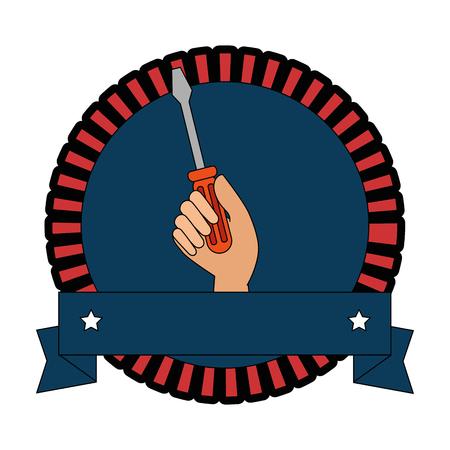 screwdriver labour day celebration emblem vector illustration design Illustration