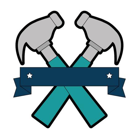 hammers labour day celebration emblem vector illustration design