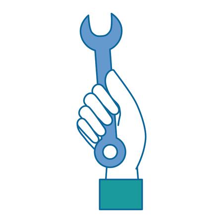 hand arbeider met moersleutel tool geïsoleerd pictogram vector illustratie ontwerp Stock Illustratie