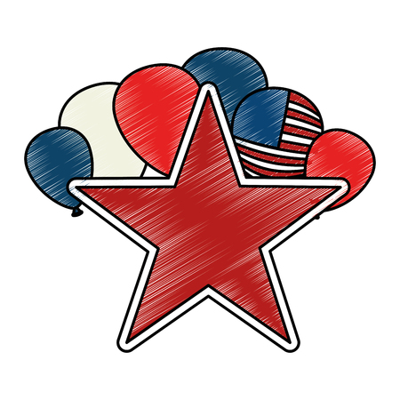 united states of america balloons with star vector illustration design