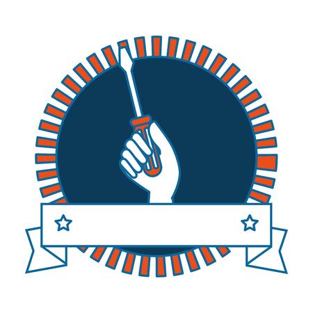 screwdriver labour day celebration emblem vector illustration design Иллюстрация