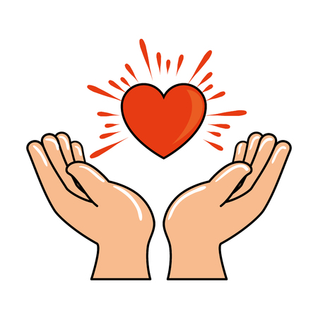 hands human protection with heart vector illustration design Illusztráció