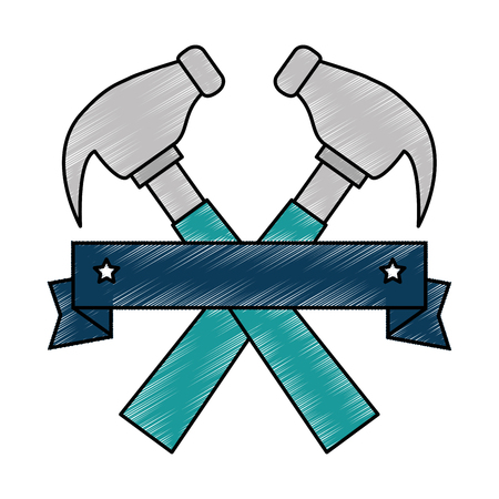 hammers labour day celebration emblem vector illustration design