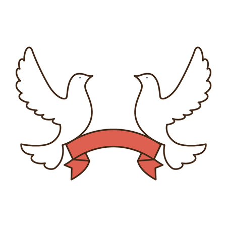 doves of peace with ribbon vector illustration design