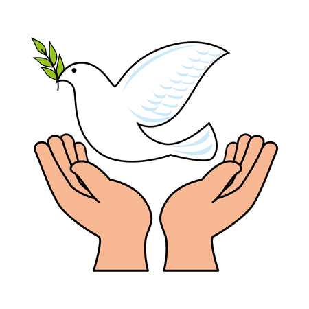 hands human with dove of peace vector illustration design