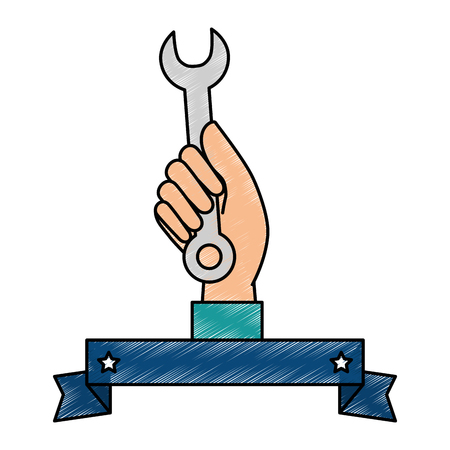 hand worker with wrench tool isolated icon vector illustration design Reklamní fotografie - 87231741