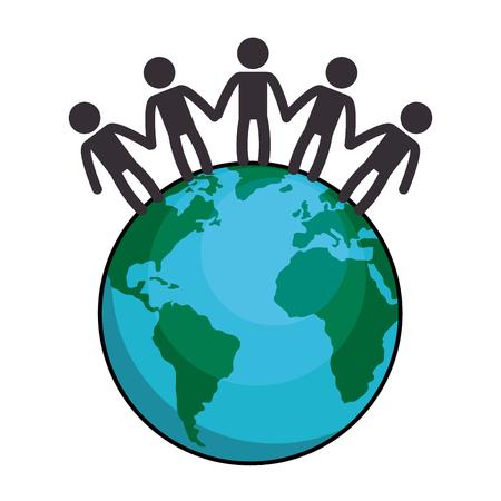 Welt Planeten mit Menschen Vektor-Illustration Design Standard-Bild - 87231751