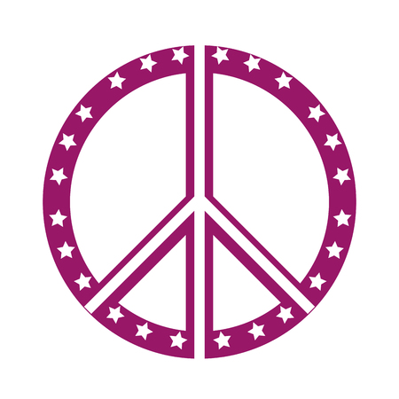 pacificist: peace symbol with stars vector illustration design