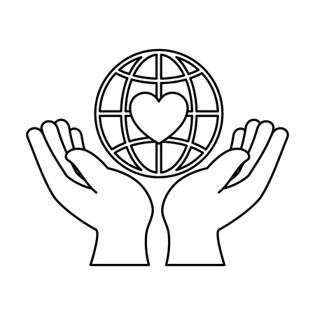 hands human protection with world planet and heart vector illustration design