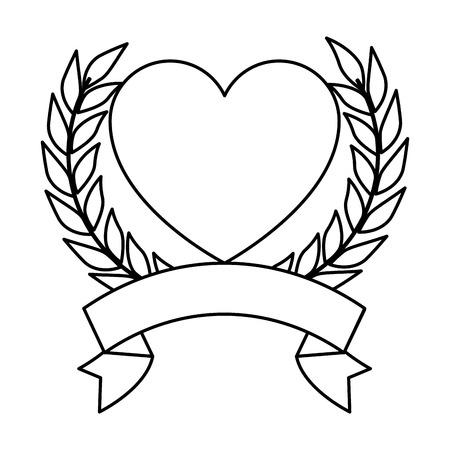 hart met lint pictogram vector illustratie ontwerp Stock Illustratie