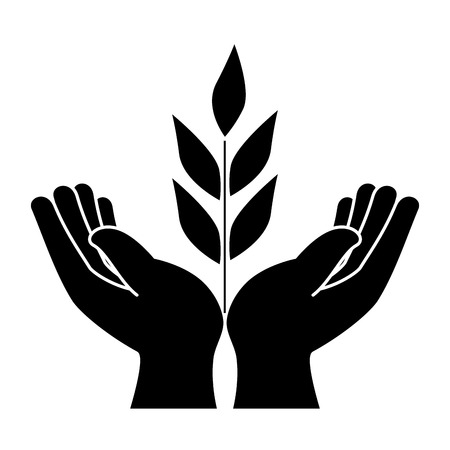 hands human protection with leafs vector illustration design