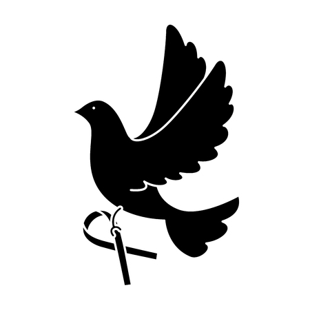 dove of peace flying with ribbon vector illustration design
