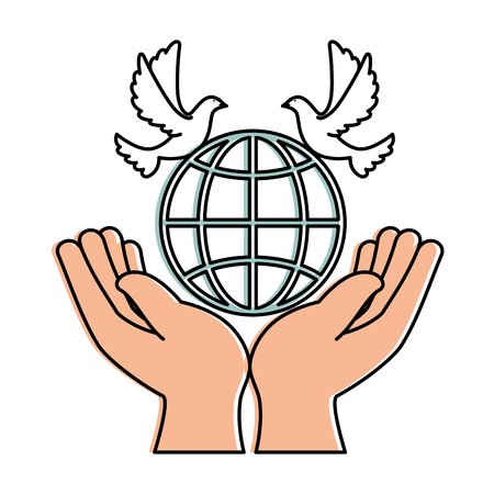 hands human with dove of peace and planet vector illustration design
