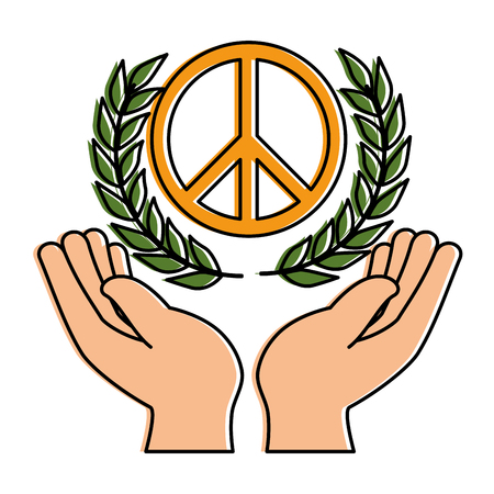 hands human protection with peace and love symbol vector illustration design