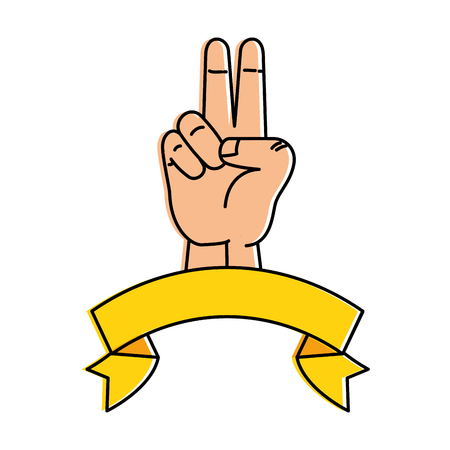 hopeful: peace and love hand symbol vector illustration design
