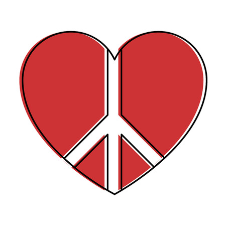 pacificist: peace symbol with heart vector illustration design Illustration