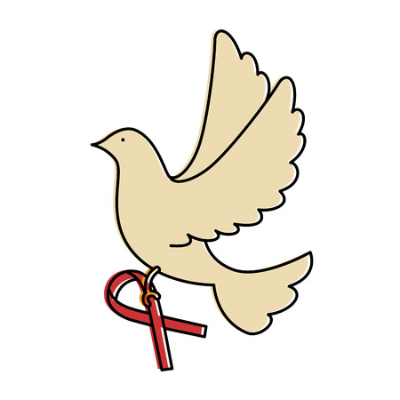 dove of peace flying with ribbon vector illustration design Stock fotó - 87231892