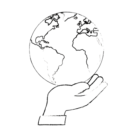 helpful: hand human protection with world planet vector illustration design
