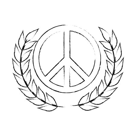 pacificist: peace symbol with leafs vector illustration design