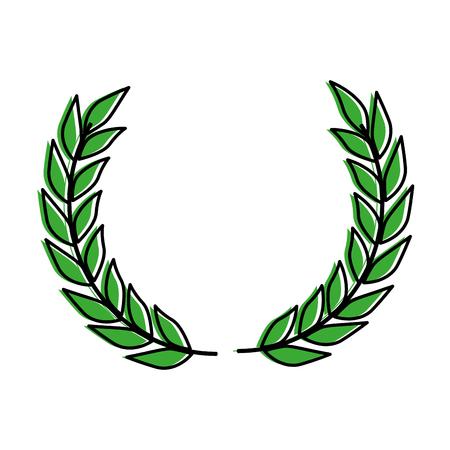 Krans bladert kroon icoon vector illustratie ontwerp