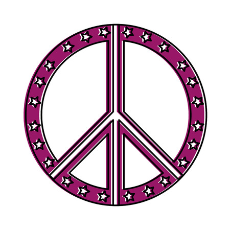 peace symbol with stars vector illustration design