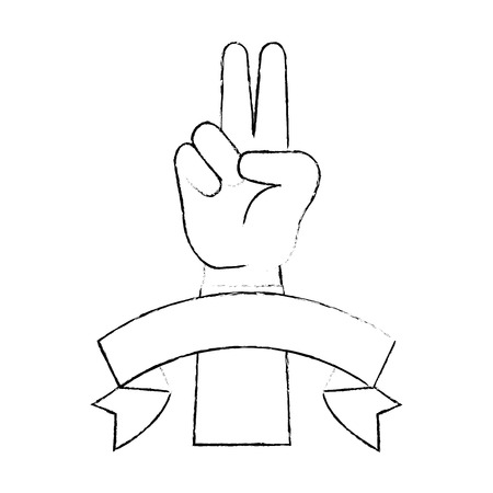 peace and love hand symbol vector illustration design Reklamní fotografie - 87231907