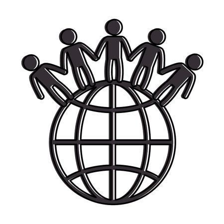 planète mondiale avec des gens vector illustration design Illustration